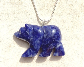 Carved Sodalite Bear Necklace