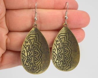 Etched Antiqued Brass Earrings, Antiqued Brass Earrings, Brass Teardrop Earrings, Mandala Earrings, Gift for her, Gift under 20