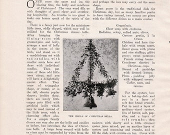 1905 Household Article: The Christmas Dinner Decorations Menu Game Meat Dessert Recipes