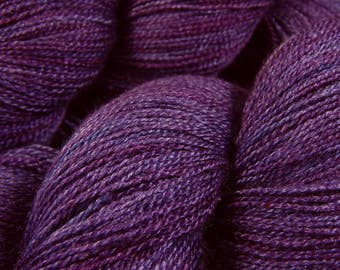 Hand Dyed Yarn, Lace Weight Superwash BFL Wool Silk - Blackberry Tonal - Indie Dyed Purple Lace Yarn