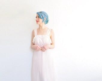 1940 old hollywood slip dress . sheer ruffle top . petal pink nightgown .medium .sale
