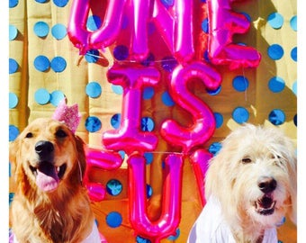 ONE is FUN Balloons, One is Fun Theme, 1st Birthday Photo Props, One is Fun,Turning 1, Pink & Gold 1st Birthday, One Letter Balloons,