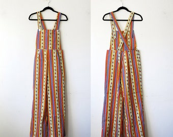 Striped Overalls / Floral 70s Bell Bottom Overalls Sz L