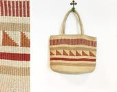 Vintage 1970s Southwestern Style Woven Wool Tote Bag