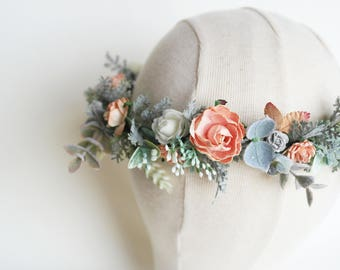 Coral flower crown, gyp flower crown, rustic hairpiece, pastel flower wreath, spring flowers, dusty miller crown, adult flower crown