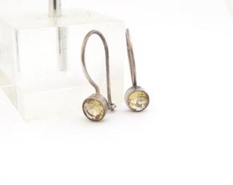 Vintage Citrine Earrings, Sterling Silver Earrings, Citrine Gemstone Dangle Earrings, Yoga Zen Jewelry