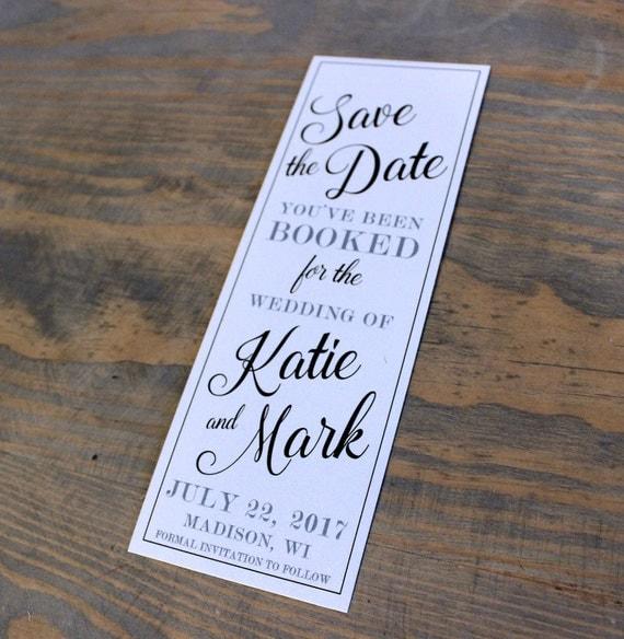 Black and White Shimmer/Metallic Wedding Printed Save the Date Bookmark, Save the Date Bookmarks