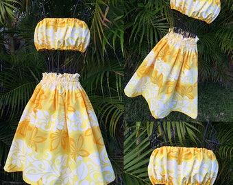 Girls Hawaiian Hula Pa'u Skirt Set Yellow / White