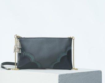 The Crossbody Bag in Grey/Gray Purse/Handbag chain strap/leather/tassel/small