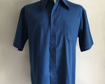 Vintage Men's 70's Navy Blue Shirt, Short Sleeve, Button Down by JC Penney (XL)