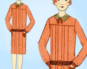 1920s VTG Butterick Sewing Pattern 2189 Uncut Girls Pleated Flapper Dress Sz 12