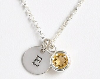 November Birthstone and Initial Necklace Sterling Silver / Personalized Birthstone Jewelry / Initial Necklace with Birthstone Citrine
