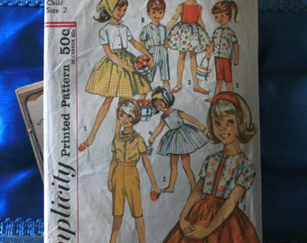 1960s Simplicity 4969 size 2 girls ensemble dress, pants, blouse, top and scarf