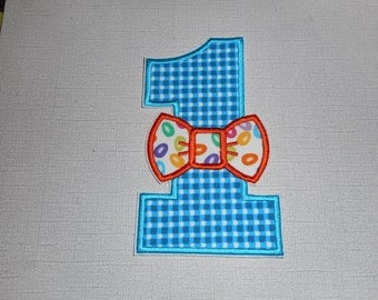 Free Shipping Ready to Ship Number 1 boys bow tie Machine Embroidery iron on applique