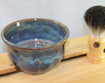Shave Bowl -- Blue with Brown Accents