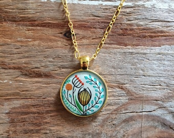 Hand Painted Necklace - Inspired by Vintage Florals, Wearable Art Jewelry, Watercolor, Gold Pendant, Valentines Day