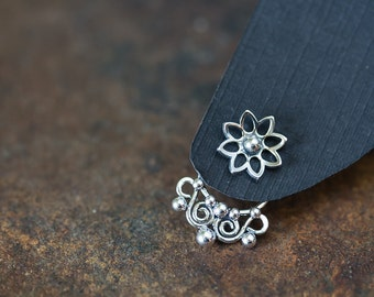 Artisan handmade silver ear jacket earring SET with small lotus flower studs, solid sterling silver front back earrings