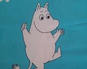 """Moomin fabric """"Bubble Moomin"""" turquoise  bright colours tillukka"""