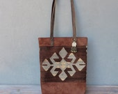 Bohemian Kilim Bag, Leather Tote Bag made with Vintage Kilim and Leather, Boho Tapestry Bag with Kuchi Coin Charm