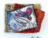 Mini Art Textile Pin Bird Heart - Certificated Original Art Brooch from France - Paris - Art Accessories