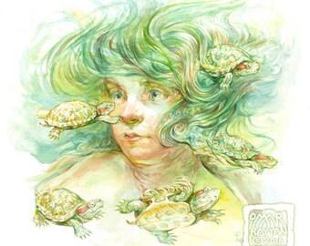 Red Sliders - original watercolor painting - mermaid - turtle - artwork