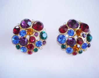 Multi Color Rhinestone Gold Tone Clip Earrings