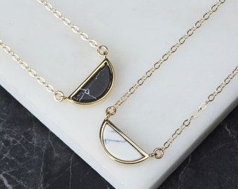 Marble Half Circle Small Marbled Necklace, Tiny White Necklace, Gold Minimalist Necklace, Stone Geometric Necklace, Small Marble Necklace