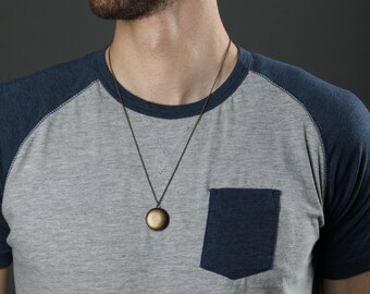 Dark Locket Simple Necklace, Brass Antique Locket, Small Unisex, Man's Necklace, Men's Locket, Men's Jewelery, Rope Chain