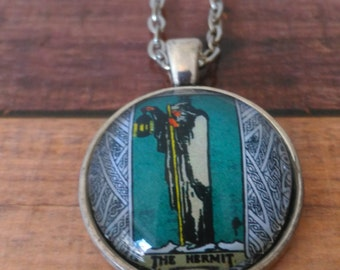Tarot Card Necklace -- The Hermit