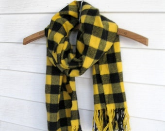 Plaid Scarf Yellow and Black, Plaid Scarf, Long Scarf with Fringe, by mailordervintage on etsy