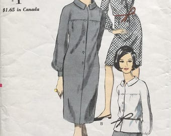 Vintage Vogue 6573 Sewing Pattern Bust 34 Mid-Century Mod Shirt Dress and Skirt 1960s