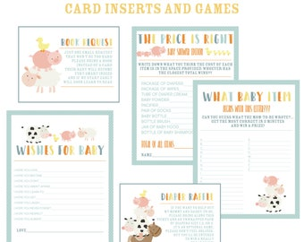 Farm Animals Baby Shower Shower Games Bundle,  Instant Download,  Baby boy, Diaper Raffle, Book Request Cards, Printable Baby Shower Games