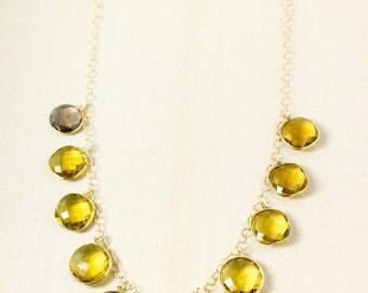 Silver Citrine Quartz Necklace - Yellow Citrine Bib Necklace - Quartz Bib Necklace