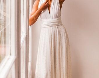 Removable tulle overskirt, gold polka dot tulle skirt for wedding dress, overskirt for wedding dress, removable wedding skirt in tulle