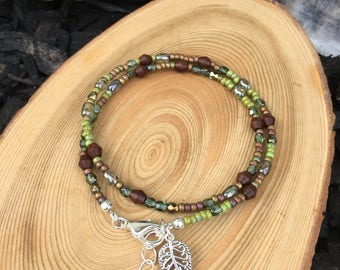 Earthy Bohemian Wrap Bracelet- Beaded Wrap- Charm- Bohemian Boho Hippie- Bangle- Cuff-  Multi Strand- Stacking-Natural-Wooden- Tassel