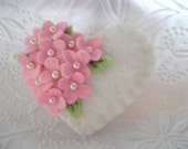 Pink Felt Flower Brooch Beaded Valentines Day Heart Wool Beaded Flowers