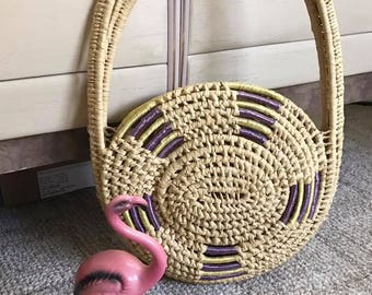 Fabulous Vintage Woven Straw Mexican Shoulder Bag in Circular Shape