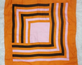 Op Art Vintage 70s Orange, Pink and Brown-Black Geometric Scarf