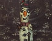 Snowman Wood Carving Folk Art OOAK Winter Decor Handmade Original