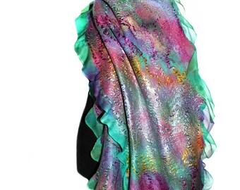 Handmade Nuno Felted Wrap Felted Scarf Large Hand Dyed Multicolor OOAK Felt Gift Fashion Accessory