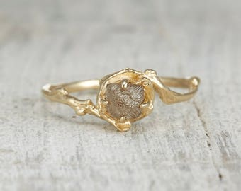 Rough Diamond Ring - Nature Inspired Engagement Ring with Uncut Diamond Solitaire in Rose Gold, White Gold, Yellow Gold or Platinum