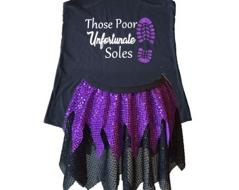 Ursula Running Costume, Ursula Costume, Fairy Tale Shirt, Ursula Tank, Sparkle Skirt, Running Skirt, Little Mermaid Running Costume