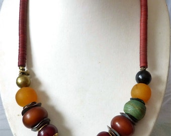 African Bull Sculpture Necklace, Hebron Beads,African amber, red jade, UNIQUE
