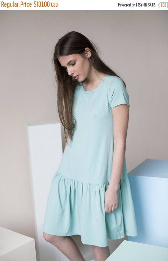 SALE - Cotton dress | Loose fitting dress | Mint green dress | LeMuse cotton dress