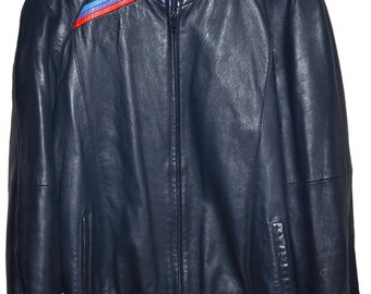BMW M STYLE 1980s Vintage Midnight Blue LEATHER Jacket Mens 40 S M E30 m3 m5 m6