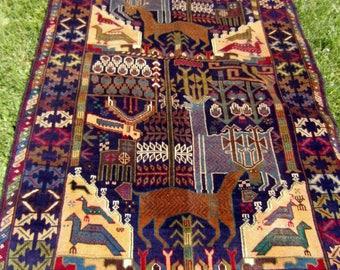 "Hunting Carpet Rug  Deer 6 ft 1"" x 3 ft 9"" . Woven Kilim/Tapis. 185 x 114 cm. Traditional."