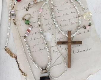 decade~upcycled, repurposed beaded necklace, vintage cross necklace, vintage chain, hippie necklace, 70s retro boho jewelry, gemstones