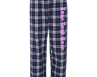 Custom Made Personalized Boxercraft Flannel Pants F20 Glitter or Vinyl Print Customized Pajama Style Pants with your text