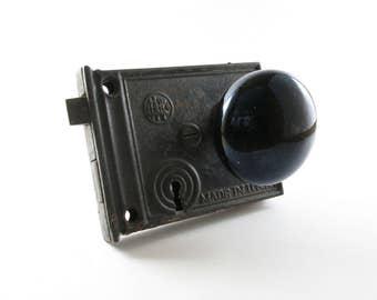 Vintage Black Porcelain Door Knob Assembly Lock Handle 1930s Antique Hardware Salvage Restoration