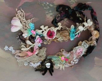 Fairytale necklace - original shabby chic layered  long necklace from antique handmade lace trims, fibers, beads